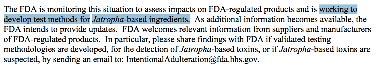 The FDA on Jatropha